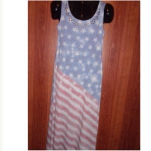 American Flag Print Maxi Dress, NWT, Sz M